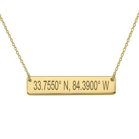 "GPS Coordinates 18k Gold Plated Bar Necklace 1.5"" inch Gold Bar Necklace Latitude Longitude necklace Coordinates made with 925 silver"