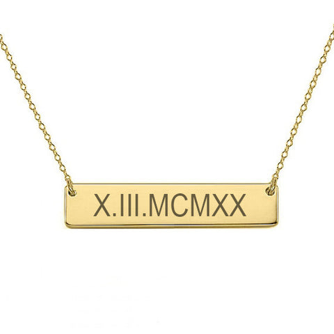 "14k Gold Roman numeral bar necklace 1"" inch 14k solid gold pendant Personalize nameplate with Anniversary or birthday dates"