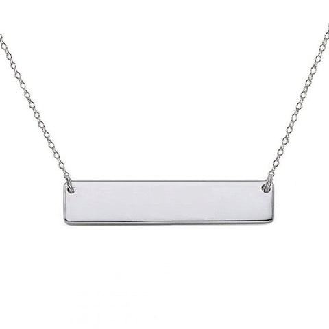 "14k White Gold Personalize bar necklace 1"" inch 14k solid white gold pendant Personalize nameplate select any Name"