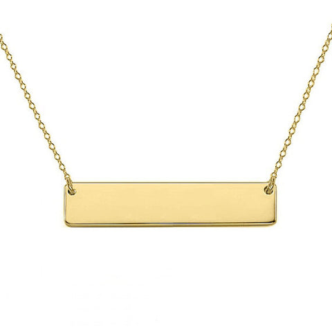 "Gold Nameplate bar necklace 1"" inch 18k gold plated Personalize pendant select any Name made with 925 silver"