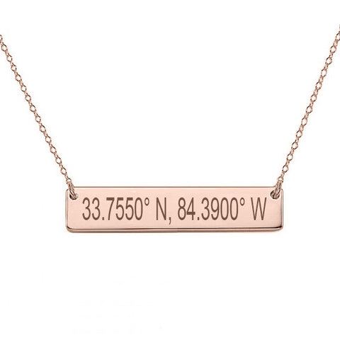 "GPS Coordinates 18k Rose Gold Plated Bar Necklace 1"" inch Rose Bar Necklace Latitude Longitude necklace Coordinates made with 925 silver"