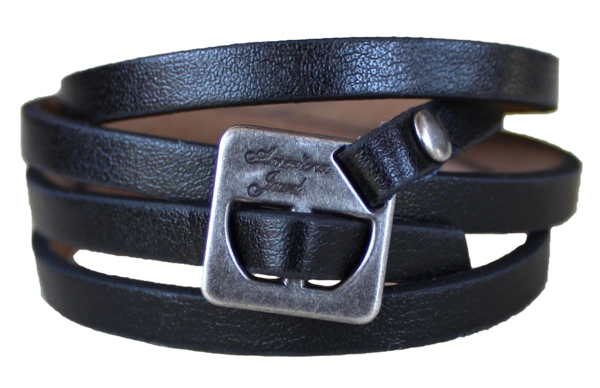 Leather Wrap Bracelet - Vegan Black
