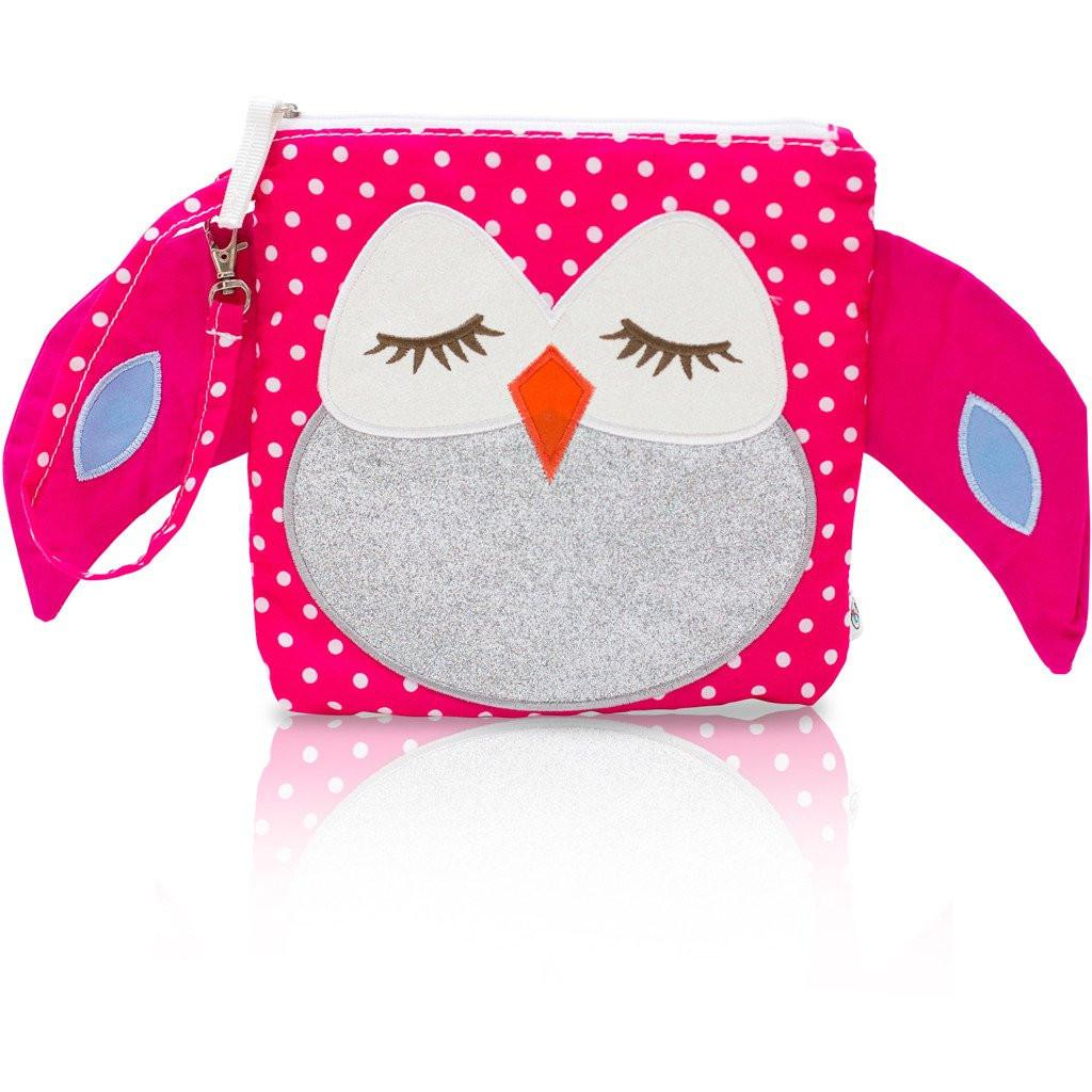 Snack Bag - My First Buddy Snack Bag - Glitter Silver Pink Owl