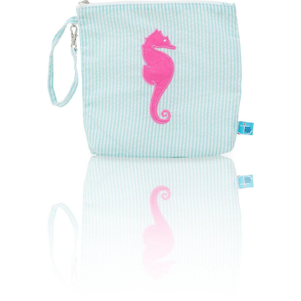 Snack Bag - Seersucker Mini Snack Bag - Seaside Collection - Seahorse