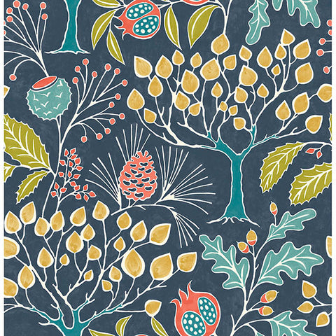 Groovy Garden – Navy Peel and Stick Wallpaper