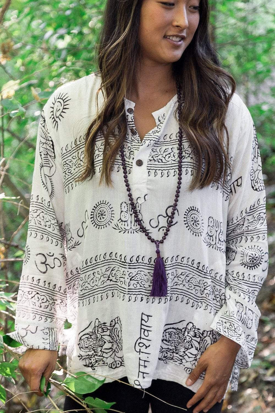 Clothing Small White Om Long-Sleeve Top with Deity Design omshirt006.SM