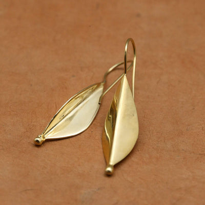 Earrings Gold Vermeil Leaf Earrings JE529