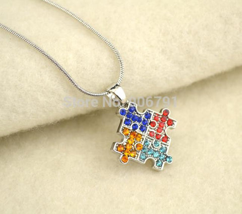 Autism Necklace Silver Plated Autism Hope Multi Colored Crystal Puzzle Pendant - Free Shipping