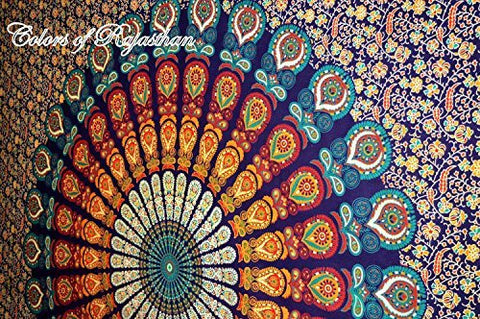 Bohemian Tapestry Colors of Rajasthan Mandala Wall /Cover Decor - Free Shipping
