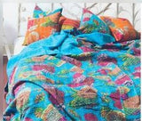 Blue Blossom Bohemian Kantha Quilt 3 PC Boho Bed Set 2 Pillow Cases - Free Shipping