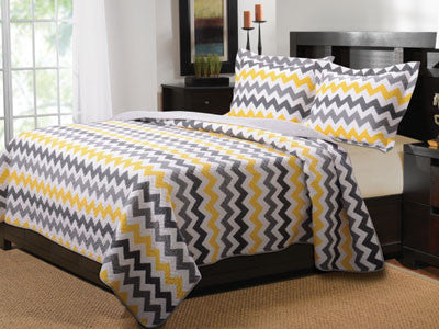 Vida Chevron Quilt Bedding King Size Bed Set 3 Piece Set - Free Shipping