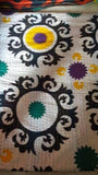 White Flower Power Bohemian Kantha Quilt 3 PC Boho Chic Bed Set 2 Pillow Cases - Free Shipping