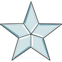 10 1/2 Inch Clear Bevel Five Point Cluster Star - Stained Glass Supplies