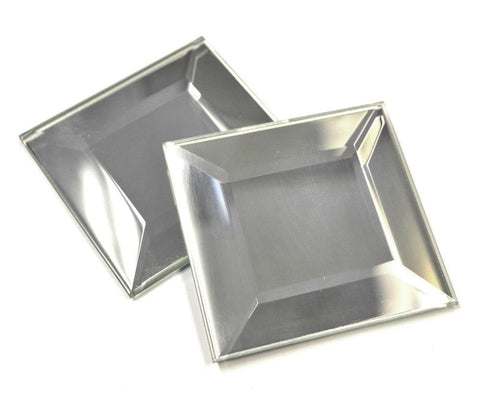 2 x 2 Inch Mirror Square glass bevels - pack of 6