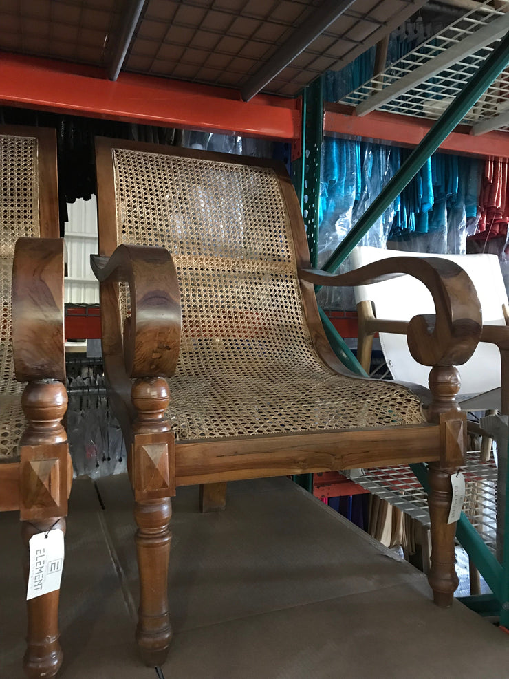Wooden and Natural Rattan Fiber Woven Chair