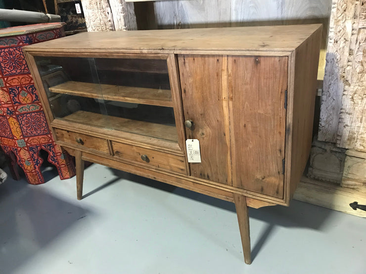 Short Wooden Cabinet with Two Drawers, One Door, and Two Shelves