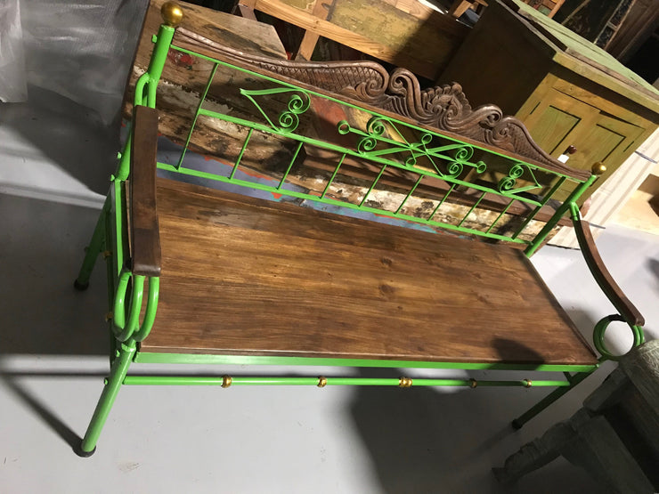 Green Metal Bench with Wooden Seat