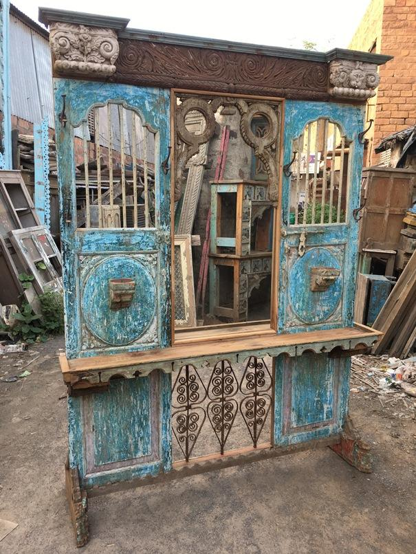Wooden Dresser With Mirror, Hooks, and Bars
