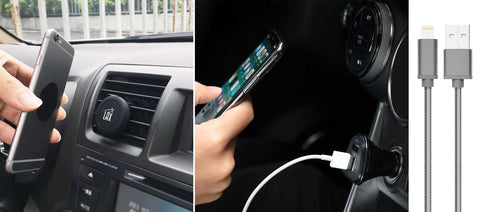 Ride Share Bundle: Magnetic Air Vent Car Mount, 3-Port Car Charger, and 3ft USB Cable