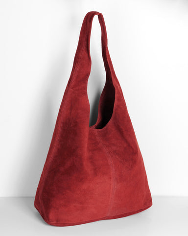 Ledertasche Shopper Wildleder Tasche in bordeaux Rot von ImiLoa