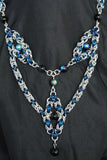 Byzantine Trinity Silver and Blue Necklace with Blue Aurora Borealis beads