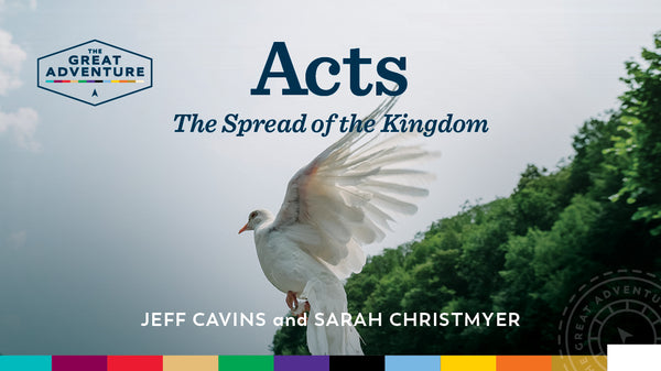 The logo image with a dove on it for Acts: The Spread of the Kingdom Study Program by Jeff Cavins and Sarah Christmyer