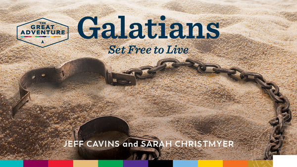 The logo for the Bible Study, Galatians: Set Free to Live Study Program, by Jeff Cavins and Gayle Somers.