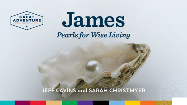 The logo for the Catholic Bible Study, James: Pearls for Wise Living Study Program, by Jeff Cavins and Sarah Christmyer