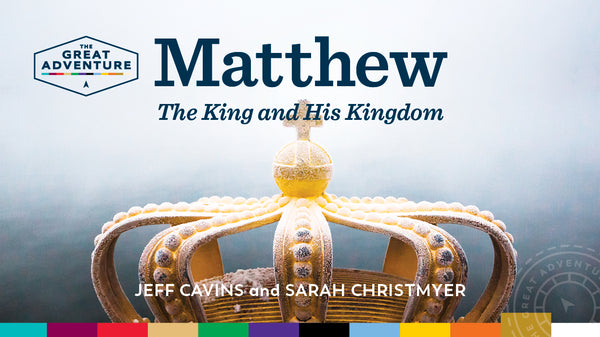 The logo image with a King's crown on it for the Catholic Bible Study, Matthew: The King and His Kingdom Study Program by Jeff Cavins and Sarah Christmyer