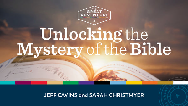 Unlocking the Mystery of the Bible Study Program logo image featuring the names of Jeff Cavins and Sarah Christmeyer