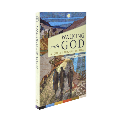 The Catholic book, Walking with God: A Journey through the Bible by Tim Gray and Jeff Cavins via Ascension. The cover depicts three people walking in the moonlight.