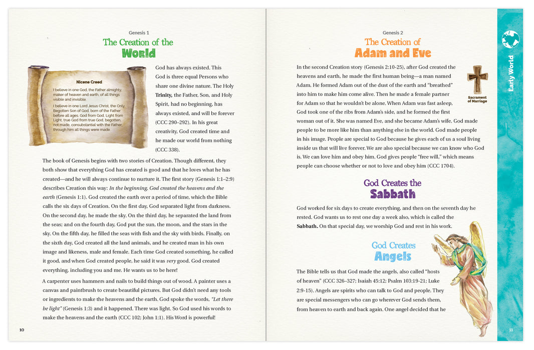 A sneak peek at the inside of the Catholic children's book, The Great Adventure Storybook: A Walk Through the Catholic Bible by Emily Cavins et. al. and Ascension