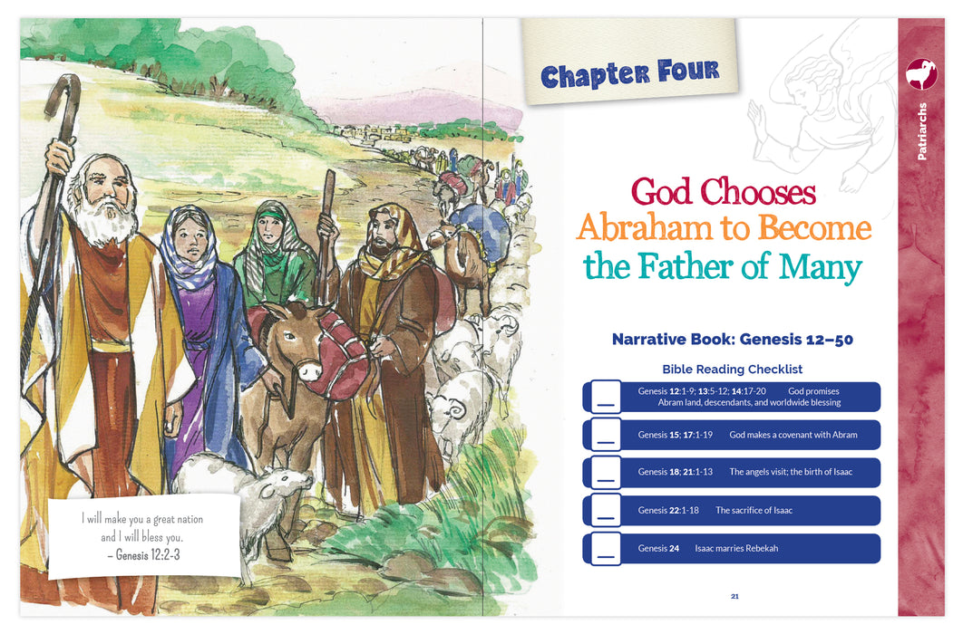 A sneak peek at chapter 4 when God chooses Abraham as the father of many in the Catholic children's book, The Great Adventure Storybook: A Walk Through the Catholic Bible by Emily Cavins et. al. and Ascension