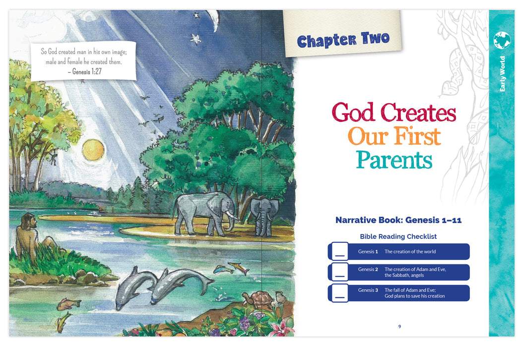 A sneak peek at chapter 2 when God creates our firt parents Adam and Eve in the Catholic children's book , The Great Adventure Storybook: A Walk Through the Catholic Bible by Emily Cavins et. al. and Ascension