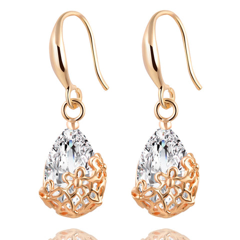 Crystal Drop Ear Candy~Gold Earrings - Sacred Motivation - 1