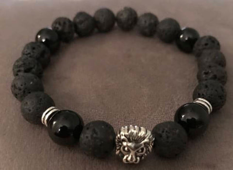 Lava Stone Black Onyx Beaded Statement Natural Stone Stretch Fashion Bracelet Gift For Him