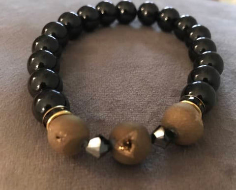 Black Onyx Gold Crystalloid Agate Beaded Statement Natural Stone Stretch Fashion Bracelet Gift For Him