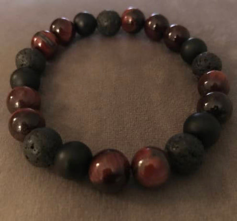 Red Tigers Eye Lava Stone Black Onyx Beaded Statement Natural Stone Stretch Fashion Bracelet
