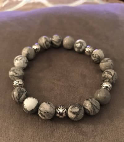 Natural Grey Beaded Statement Natural Stone Stretch Fashion Bracelet Gift For Him/Her