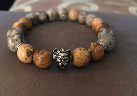 Natural Grey and Brown Stone Beaded Statement Natural Stone Stretch Fashion Bracelet