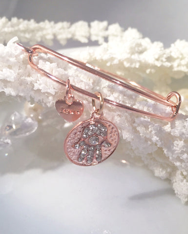 Hamsa Hand Charm Bangle~Rose Gold - Sacred Motivation - 1