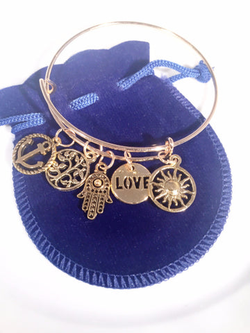 Anchor Me Love & Sunshine Bangle - Sacred Motivation - 1