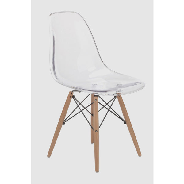 Charlie Ghost Dining Chair Natural Timber Legs