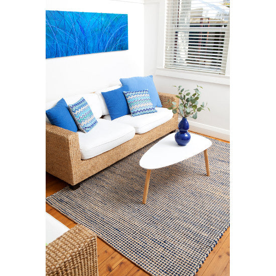 Iris Royal Blue Jute Rug