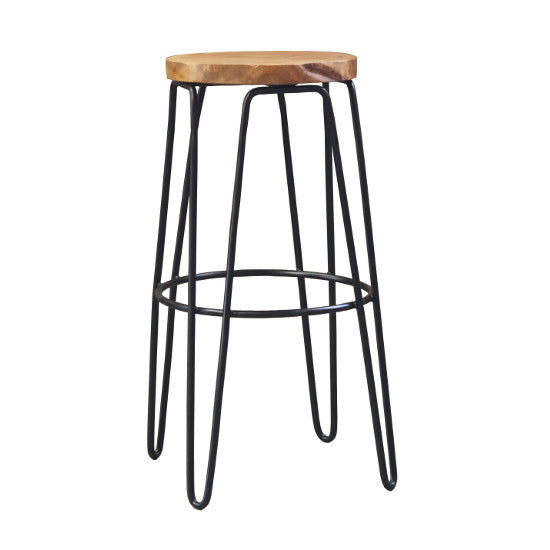Kaf Iron/Teak Bar Stool