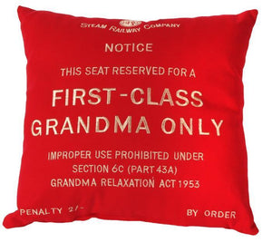 First class Grandma red cushion Harvey Makin railway humour