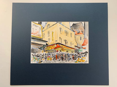 Rue Mouffetard, Paris watercolour by J. Johnstone Rough