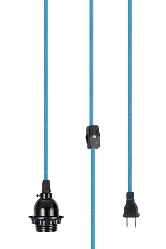 # 21027 1 Light Plug-In Vintage Style Hanging Socket Pendant Fixture, Black Socket, 15 feet of Blue Textile Cord & Rocker Switch