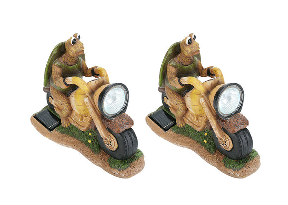 # 60901 Two Pack Set, Turtle on a Motorcycle Solar LED Accent Light Statue, 10