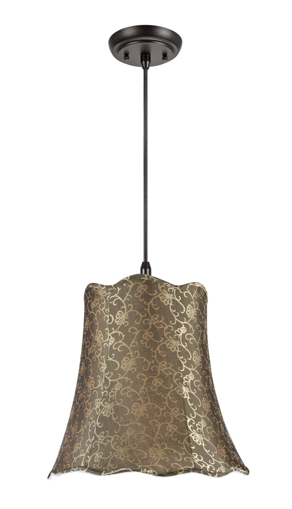 # 74007 2-Light Hanging Pendant Ceiling Light with Transitional Scallop Bell Fabric Lamp Shade, Textured Light Gold, 16
